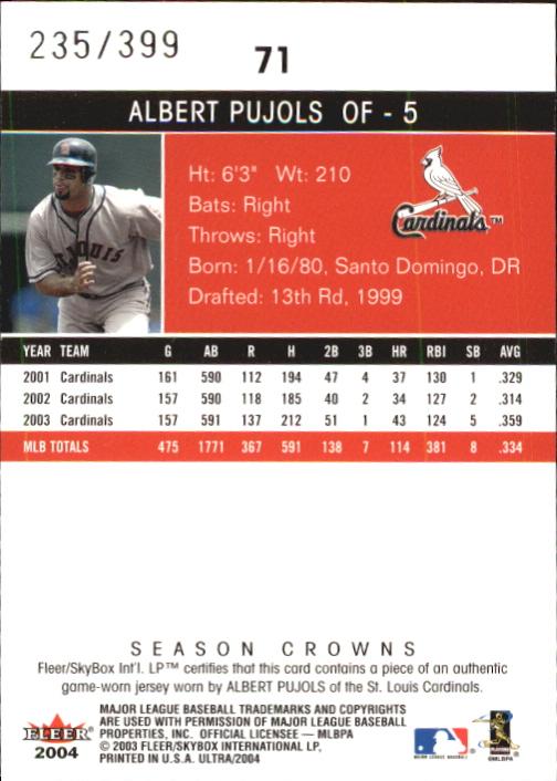 2004 Ultra Season Crowns Game Used #71 Albert Pujols Jsy back image