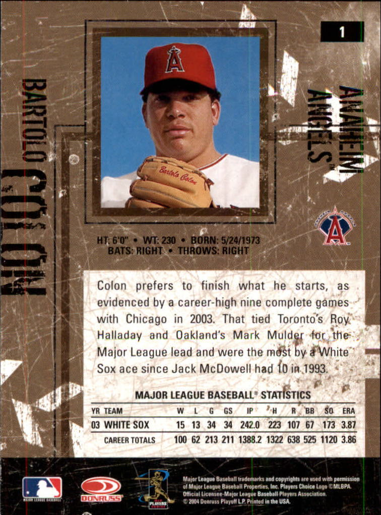 2004 Leather and Lumber #1 Bartolo Colon back image
