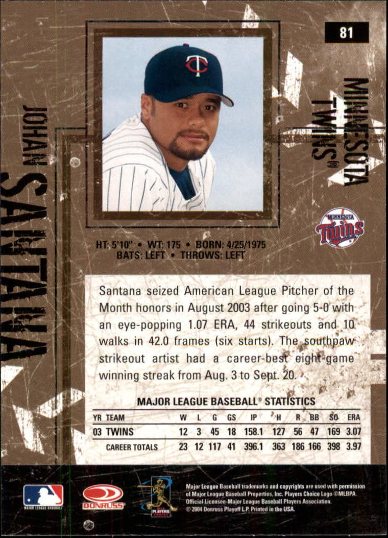 2004 Leather and Lumber #81 Johan Santana back image