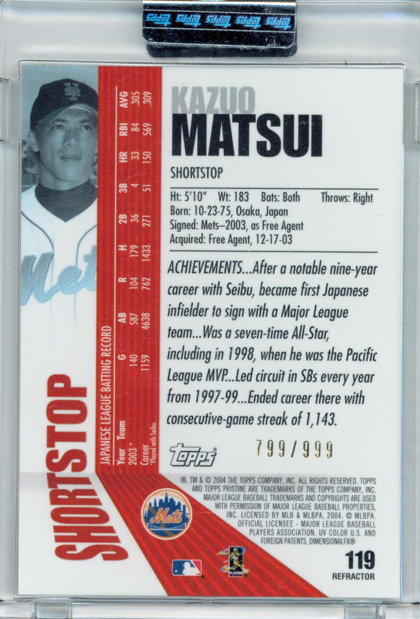 2004 Topps Pristine Refractors #119 Kazuo Matsui C back image