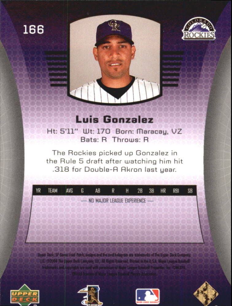 2004 SP Game Used Patch #166 Luis A. Gonzalez RC back image