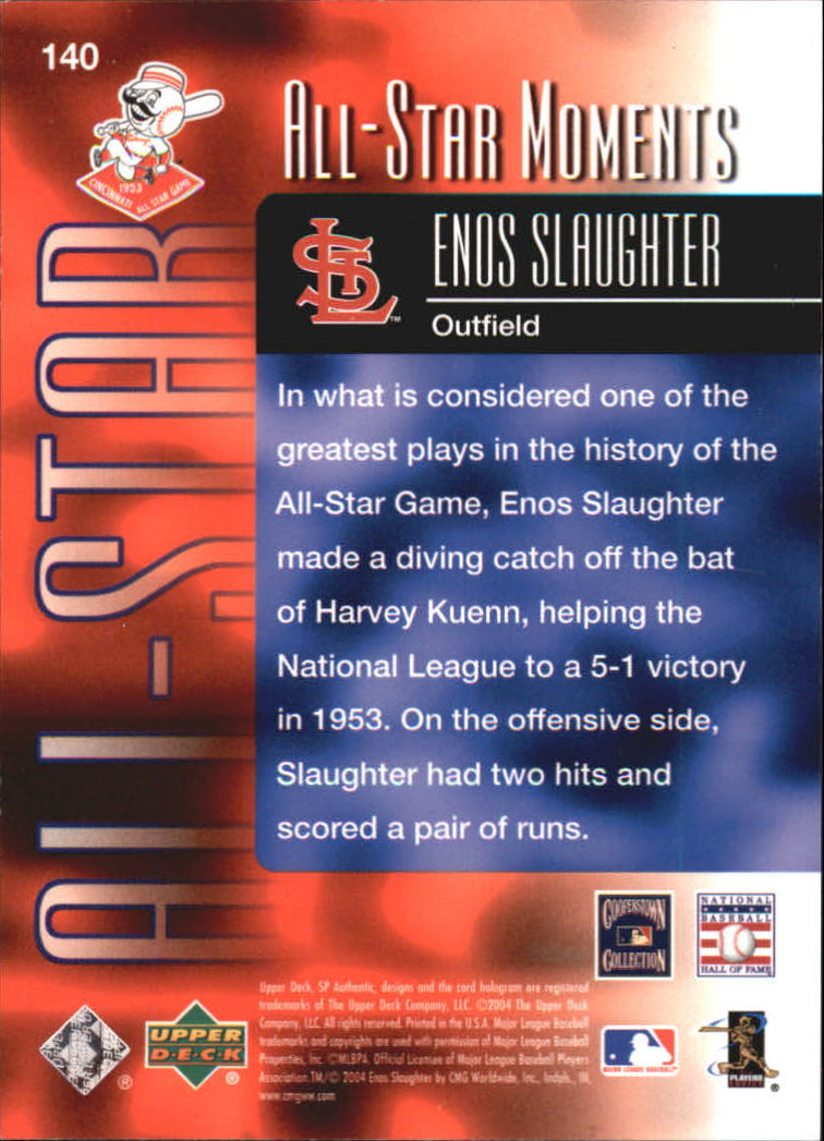 2004 SP Authentic 499/249 #140 Enos Slaughter ASM back image