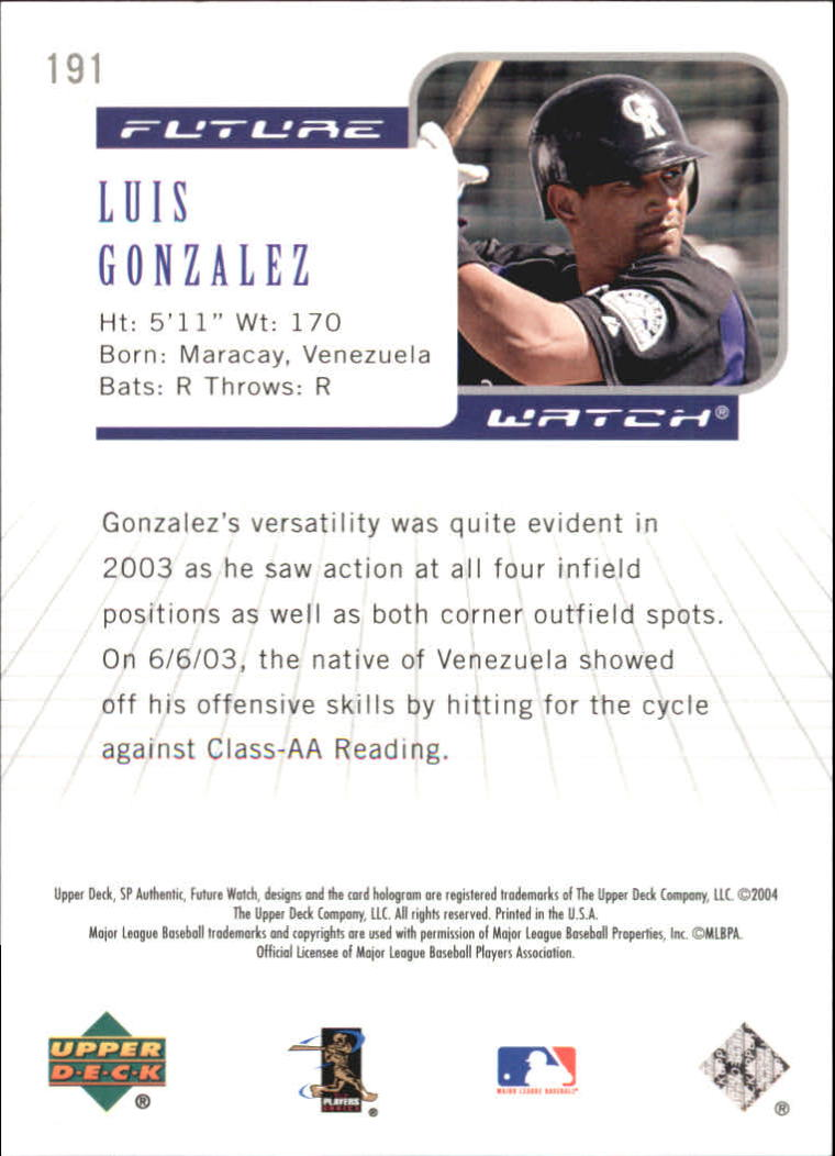 2004 SP Authentic 499/249 #191 Luis A. Gonzalez FW back image
