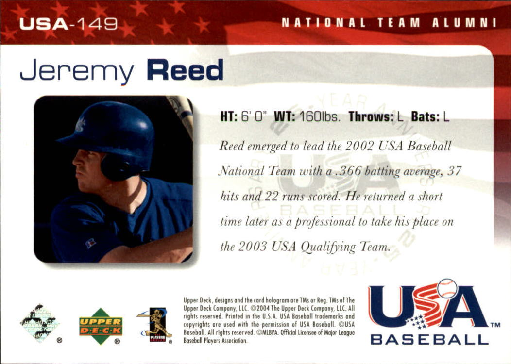 2004 USA Baseball 25th Anniversary #149 Jeremy Reed back image