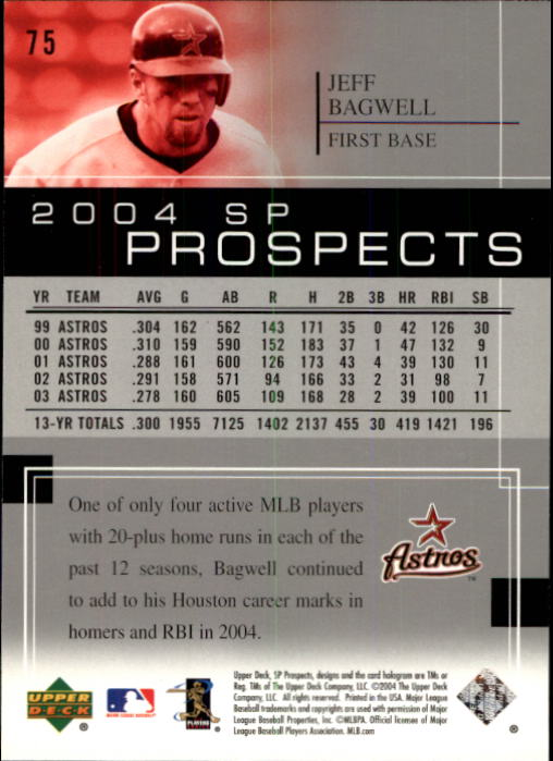 2004 SP Prospects #75 Jeff Bagwell back image