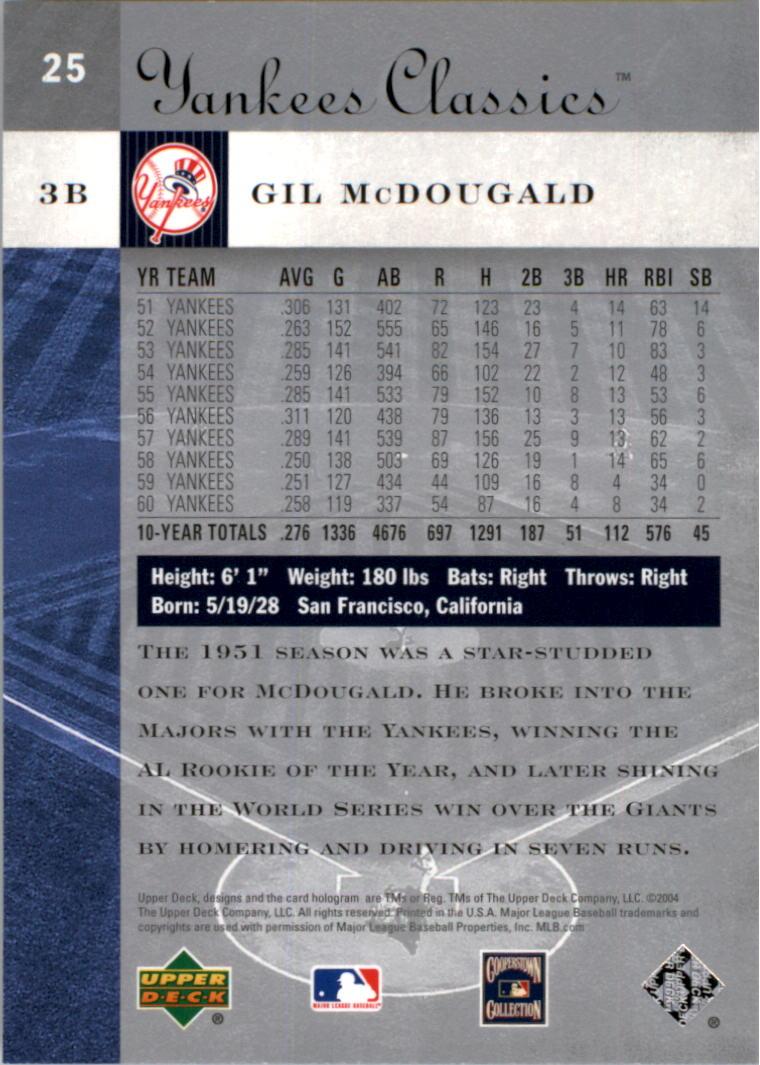 2004 UD Yankees Classics #25 Gil McDougald back image