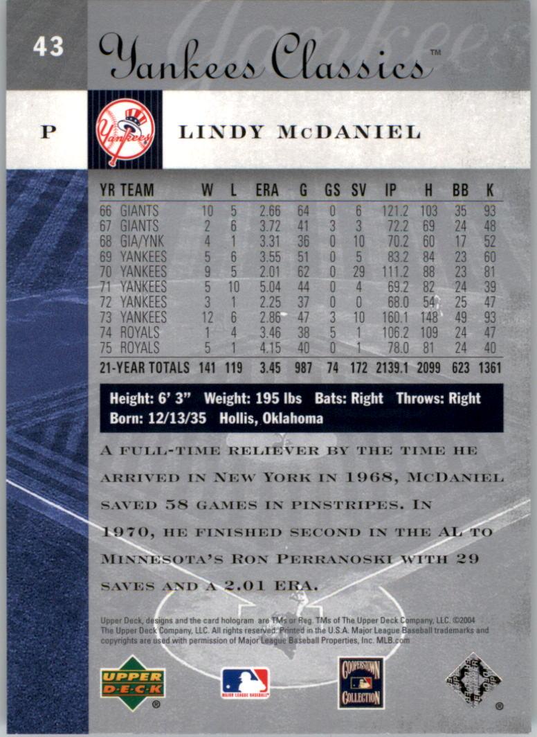 2004 UD Yankees Classics #43 Lindy McDaniel back image