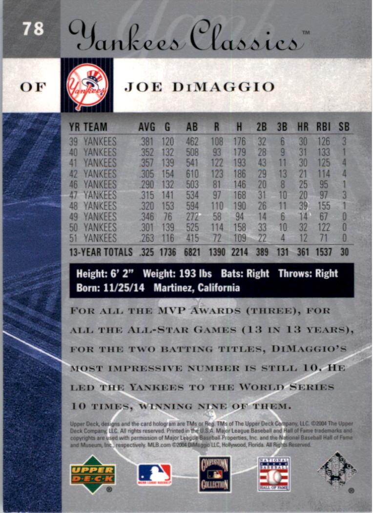 2004 UD Yankees Classics #78 Joe DiMaggio back image