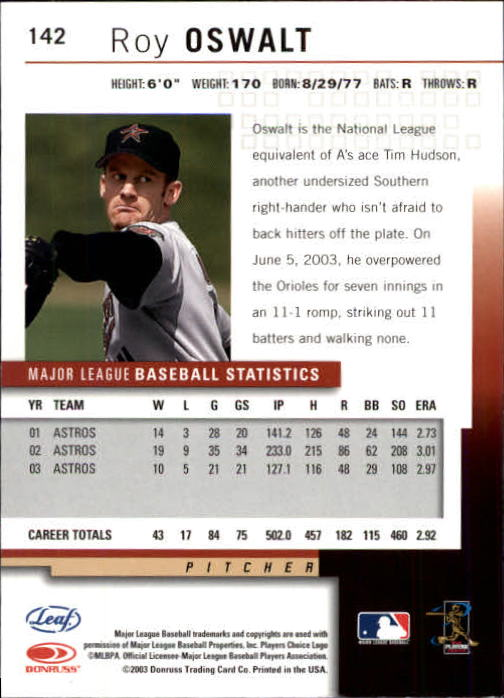 2004 Leaf Second Edition #142 Roy Oswalt back image