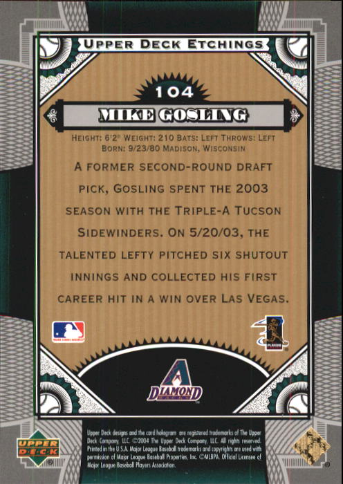 2004 Upper Deck Etchings #104 Mike Gosling FE RC back image