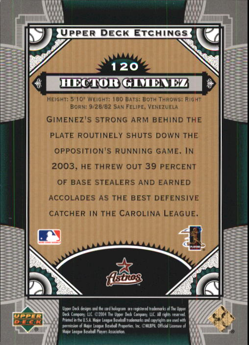2004 Upper Deck Etchings #120 Hector Gimenez FE RC back image