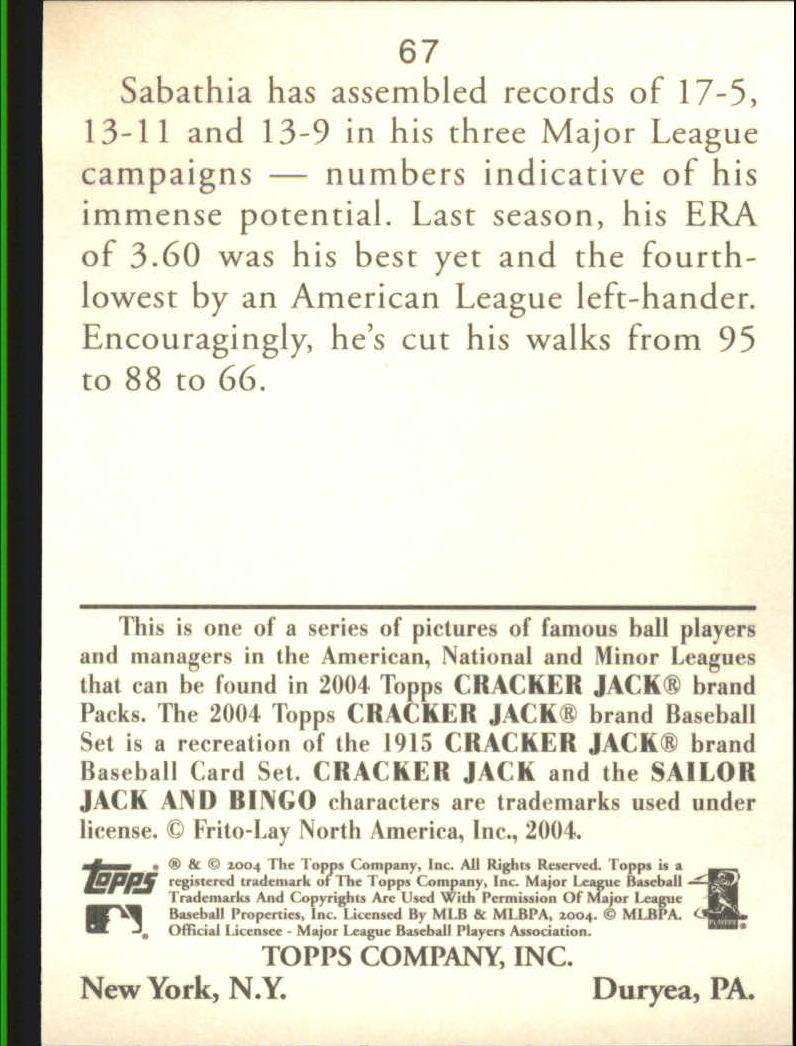 2004 Topps Cracker Jack #67 C.C. Sabathia back image