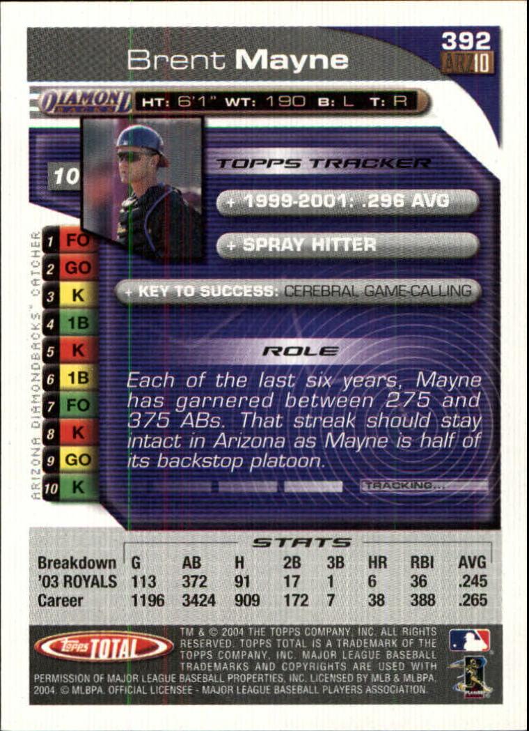 2004 Topps Total #392 Brent Mayne back image