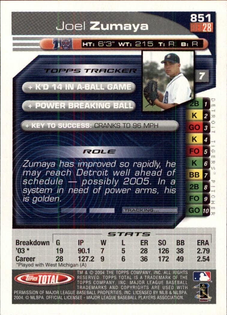 2004 Topps Total #851 Joel Zumaya FY RC back image