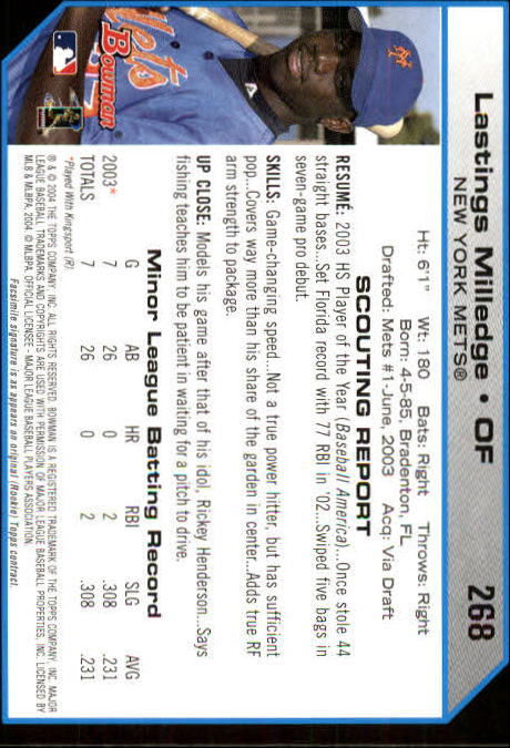 2004 Bowman #268 Lastings Milledge FY RC back image