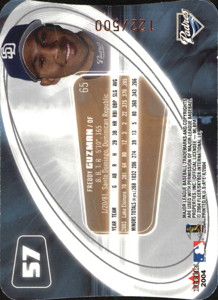 2004 E-X Die Cuts #57 Freddy Guzman ROO back image