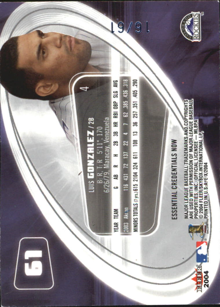 2004 E-X Essential Credentials Now #61 Luis Gonzalez ROO/61 back image
