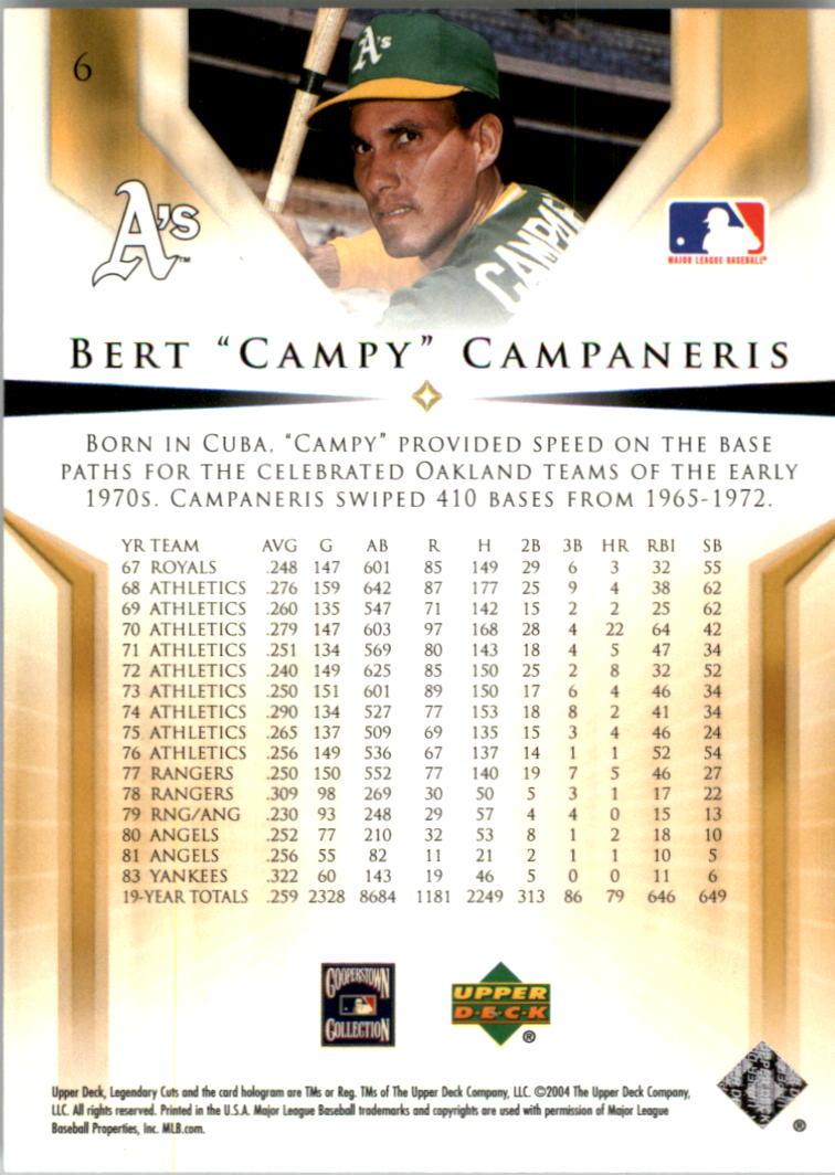 2004 SP Legendary Cuts #6 Bert Campaneris back image
