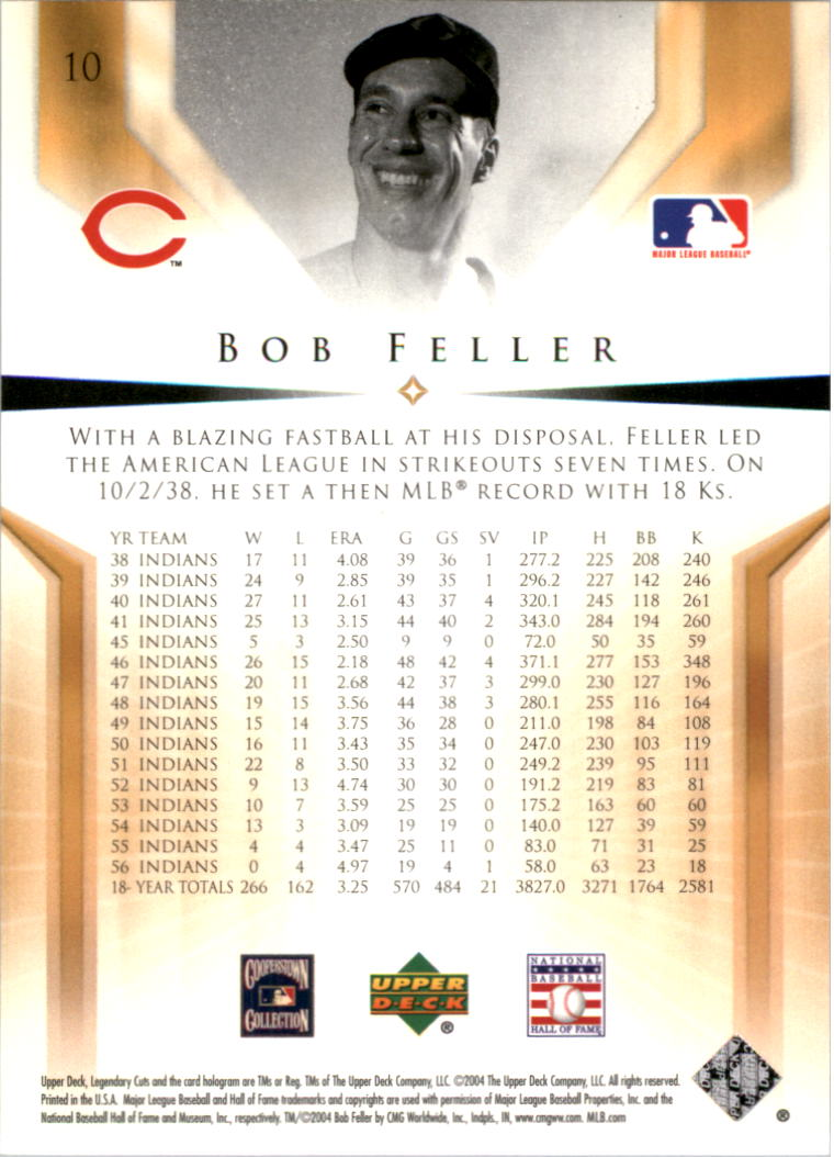 2004 SP Legendary Cuts #10 Bob Feller back image