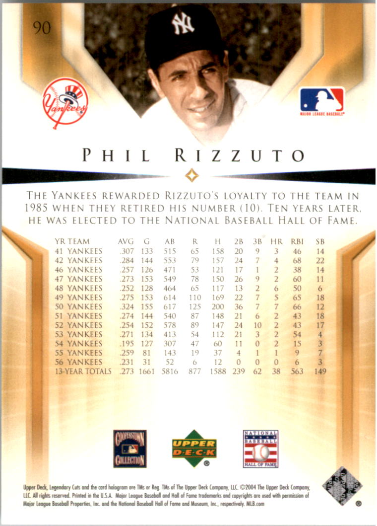 2004 SP Legendary Cuts #90 Phil Rizzuto back image