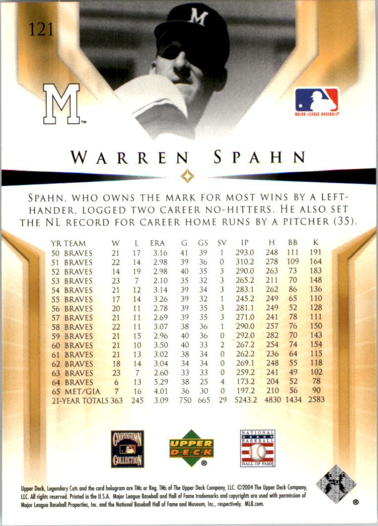 2004 SP Legendary Cuts #121 Warren Spahn back image