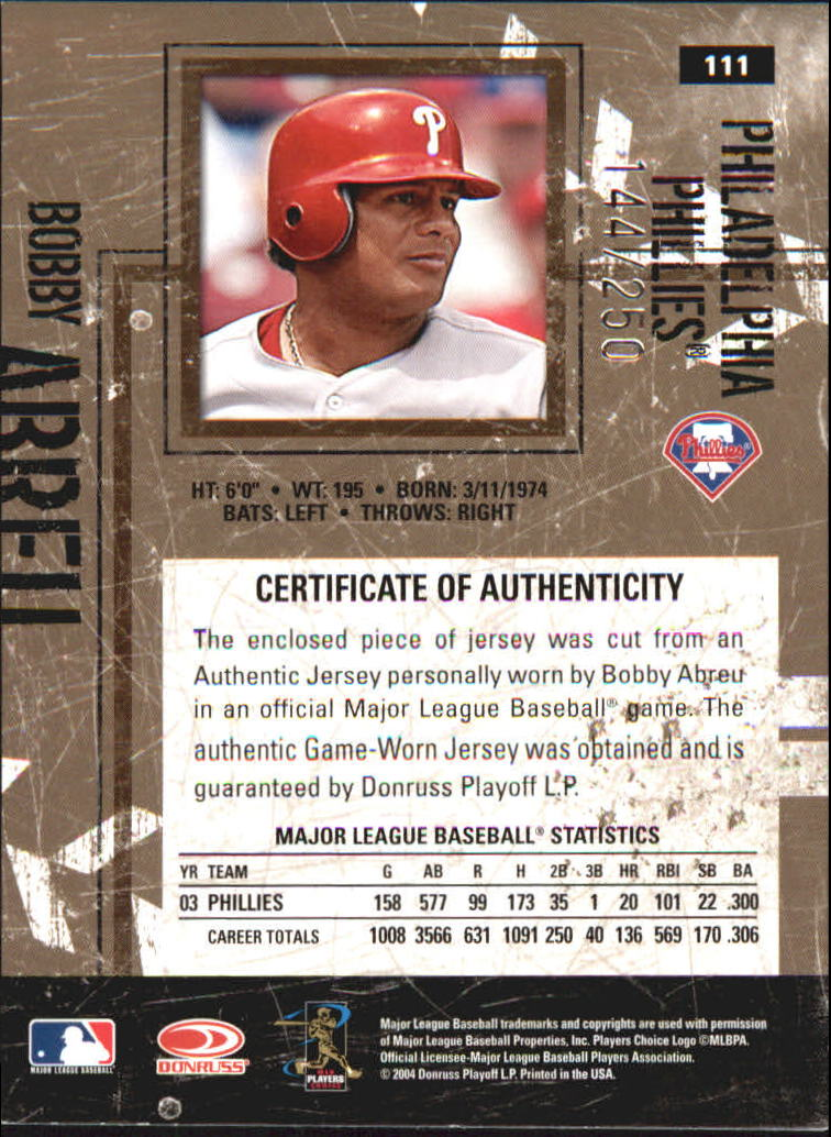 2004 Leather and Lumber Materials Jersey #111 Bobby Abreu/250 back image