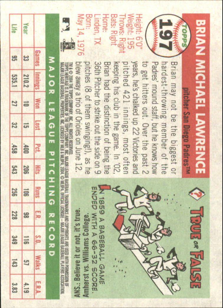 2004 Topps Heritage #197 Brian Lawrence back image