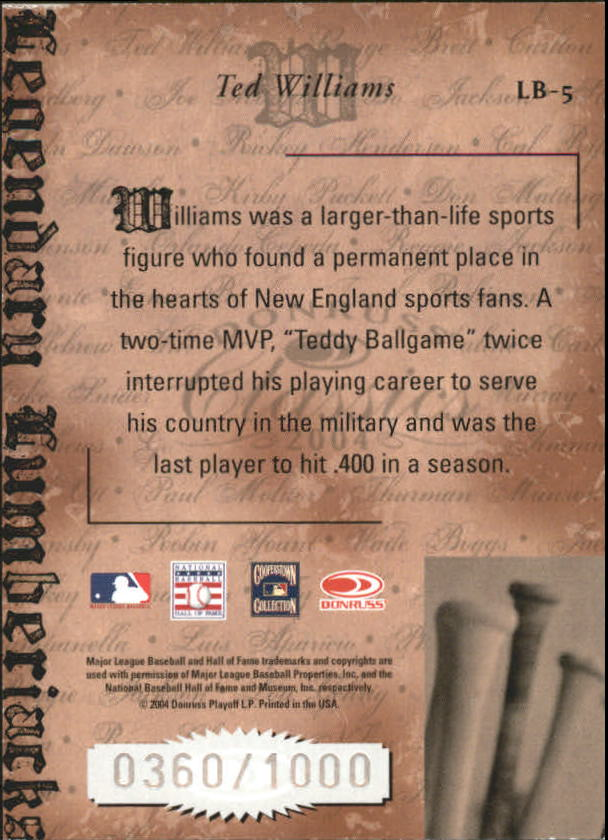 2004 Donruss Classics Legendary Lumberjacks #5 Ted Williams back image