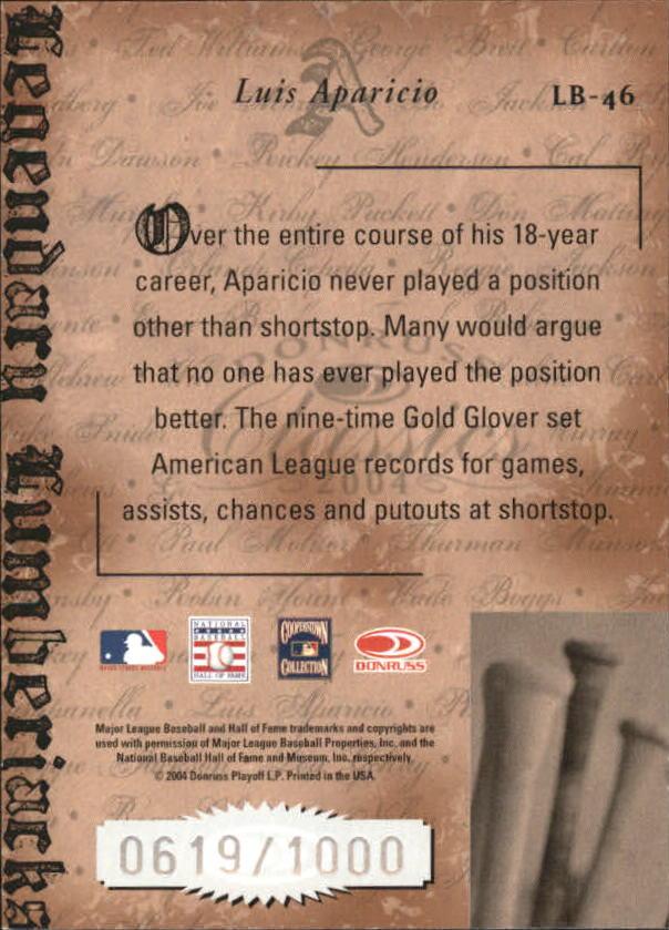 2004 Donruss Classics Legendary Lumberjacks #46 Luis Aparicio back image