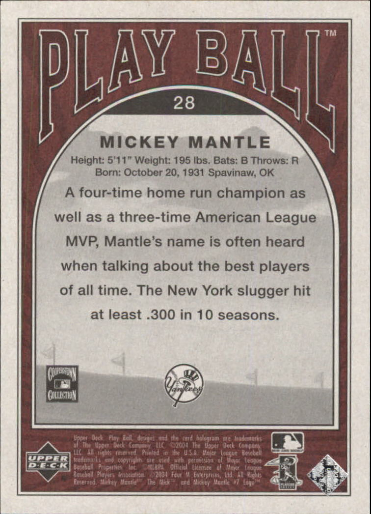 2004 Upper Deck Play Ball #28 Mickey Mantle back image