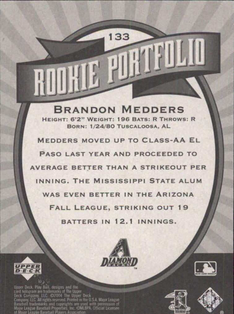 2004 Upper Deck Play Ball #133 Brandon Medders RP RC back image