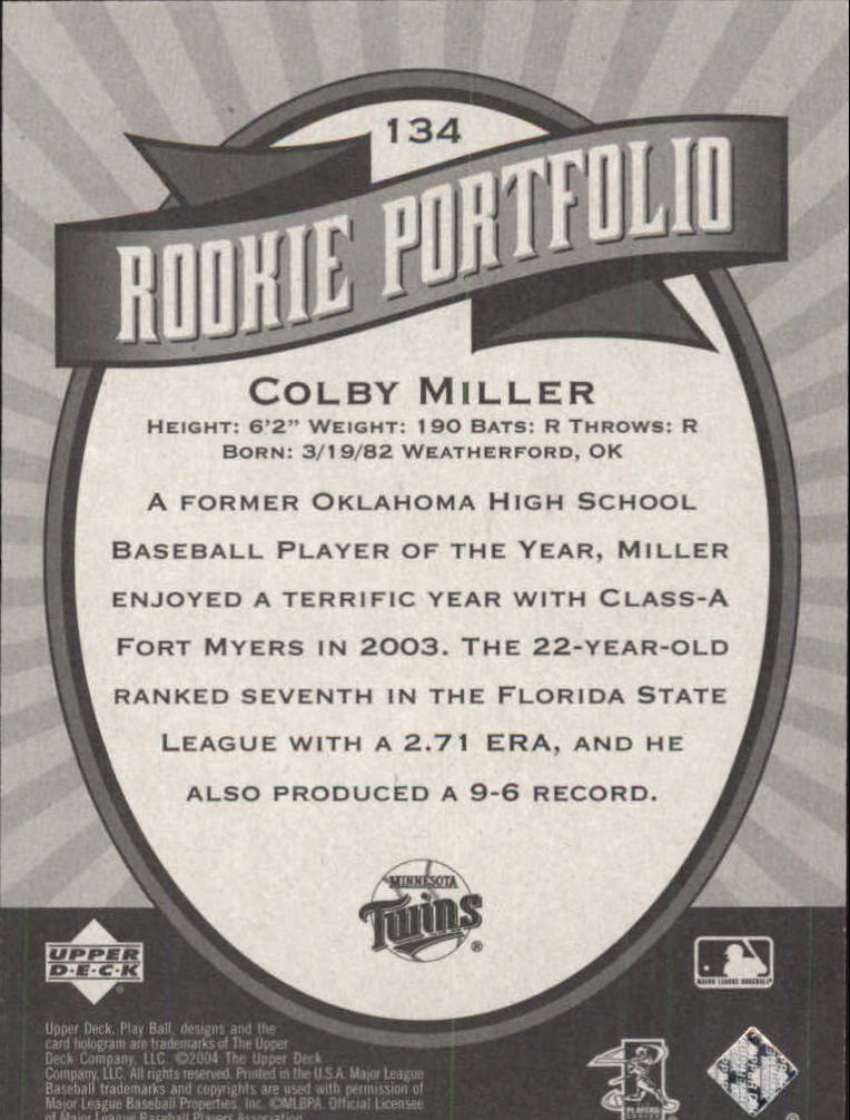 2004 Upper Deck Play Ball #134 Colby Miller RP RC back image
