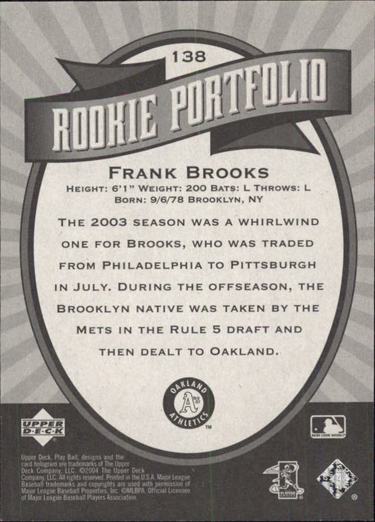 2004 Upper Deck Play Ball #138 Frank Brooks RP RC back image