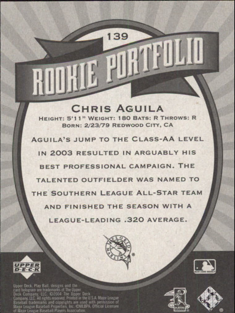 2004 Upper Deck Play Ball #139 Chris Aguila RP RC back image