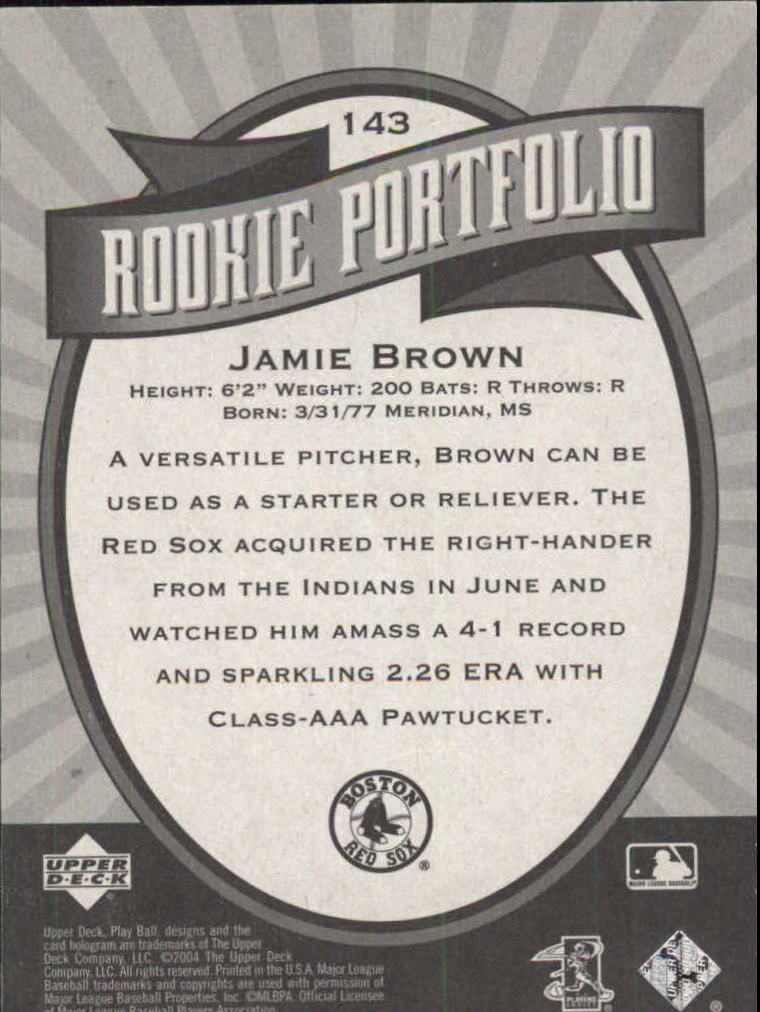 2004 Upper Deck Play Ball #143 Jamie Brown RP RC back image