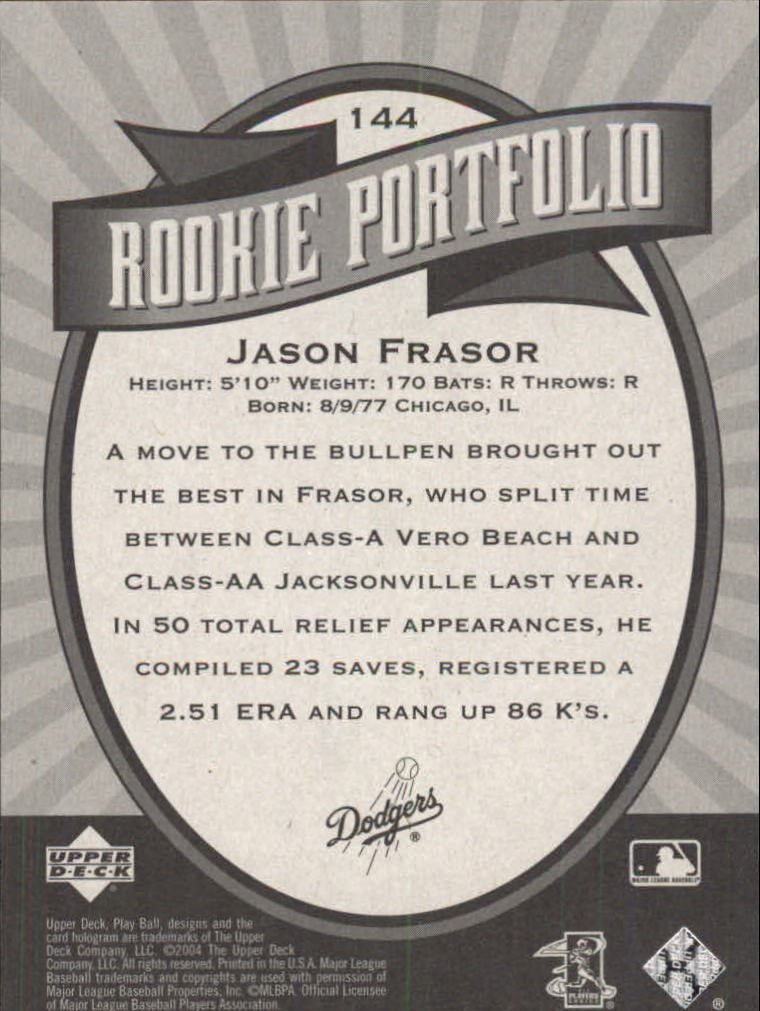 2004 Upper Deck Play Ball #144 Jason Frasor RP RC back image