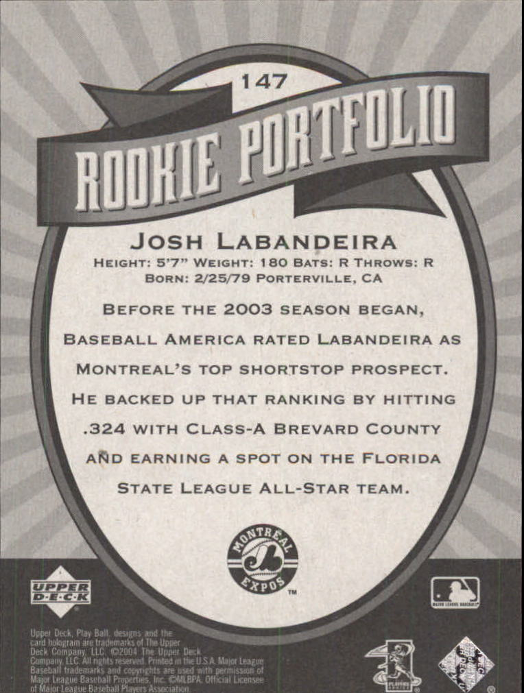 2004 Upper Deck Play Ball #147 Josh Labandeira RP RC back image