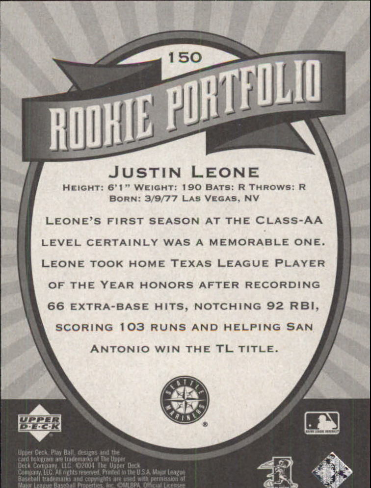 2004 Upper Deck Play Ball #150 Justin Leone RP RC back image