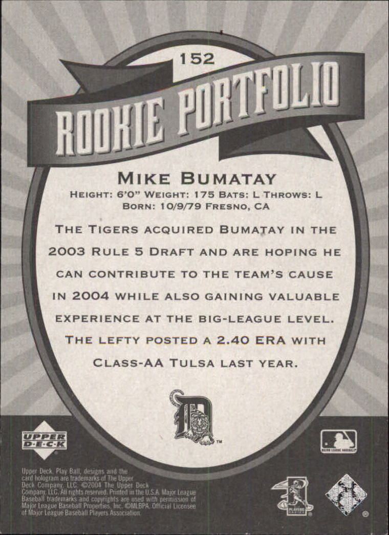 2004 Upper Deck Play Ball #152 Mike Bumatay RP RC back image