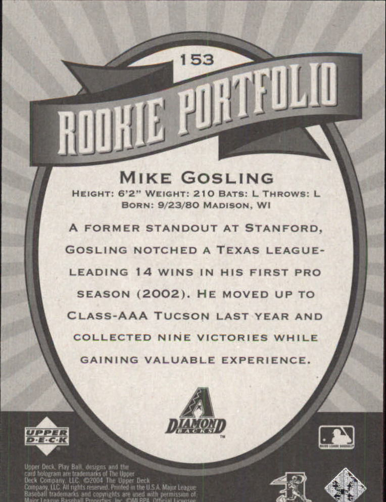 2004 Upper Deck Play Ball #153 Mike Gosling RP RC back image