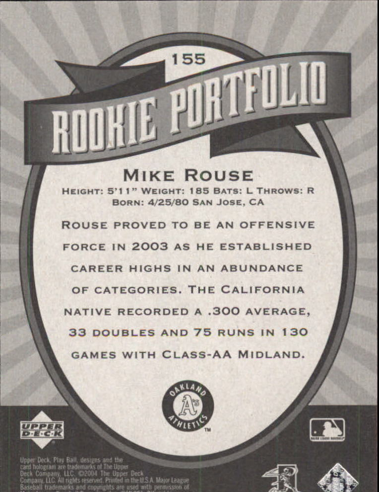 2004 Upper Deck Play Ball #155 Mike Rouse RP RC back image
