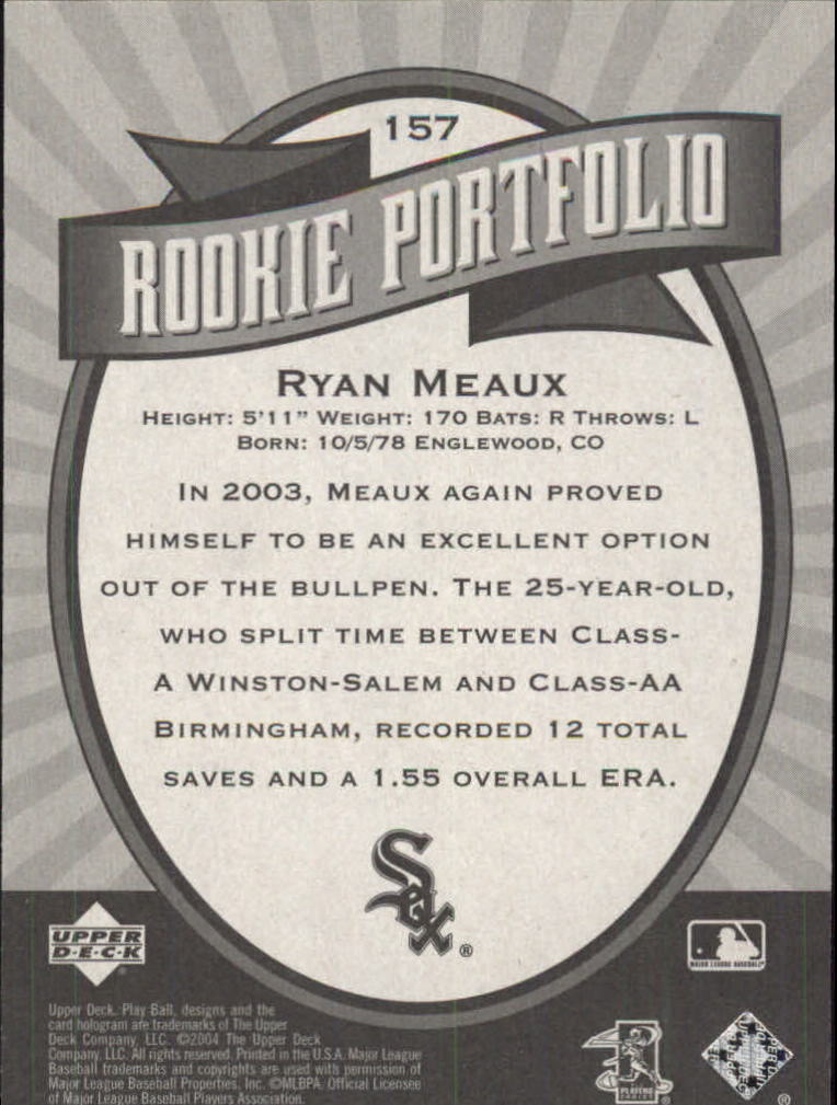 2004 Upper Deck Play Ball #157 Ryan Meaux RP RC back image