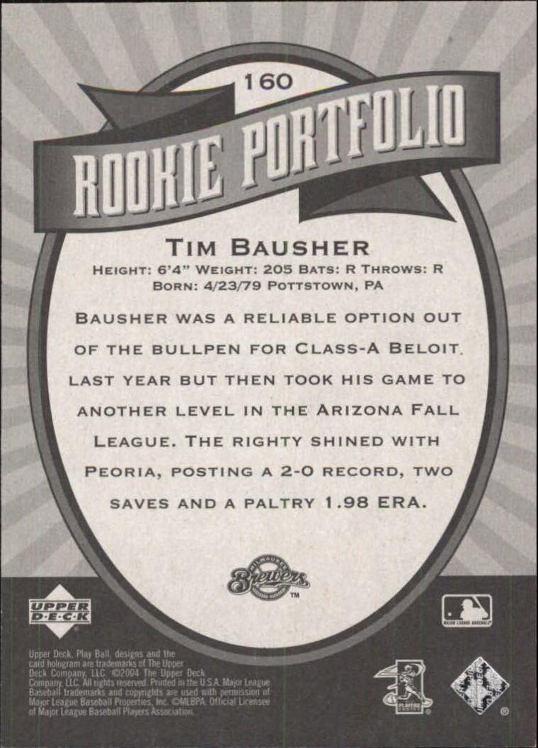 2004 Upper Deck Play Ball #160 Tim Bausher RP RC back image