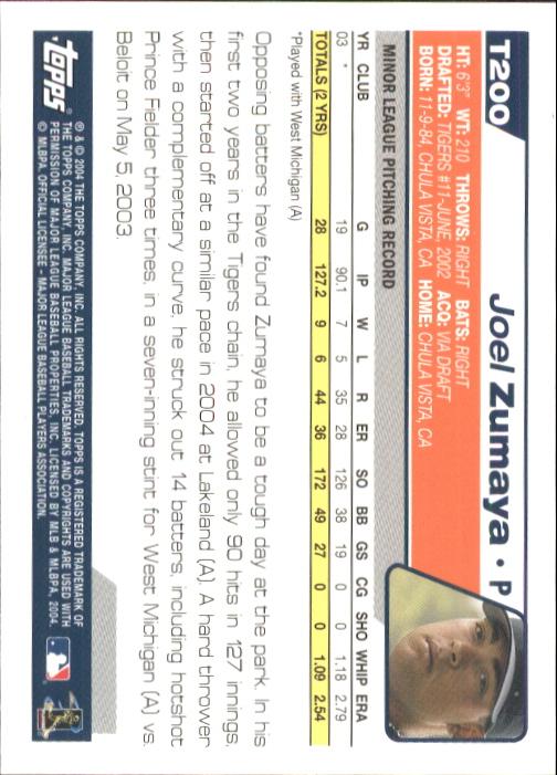 2004 Topps Traded #T200 Joel Zumaya FY RC back image