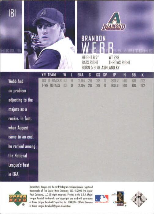 2004 Upper Deck #181 Brandon Webb back image