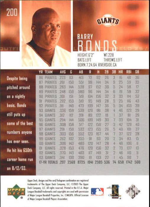 2004 Upper Deck #200 Barry Bonds back image