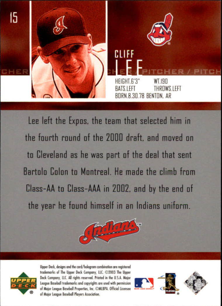 2004 Upper Deck Glossy #15 Cliff Lee SR back image