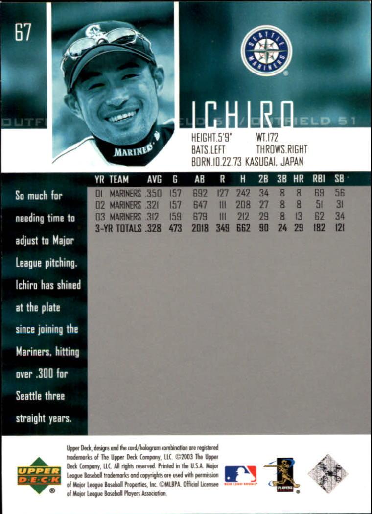 2004 Upper Deck Glossy #67 Ichiro Suzuki back image