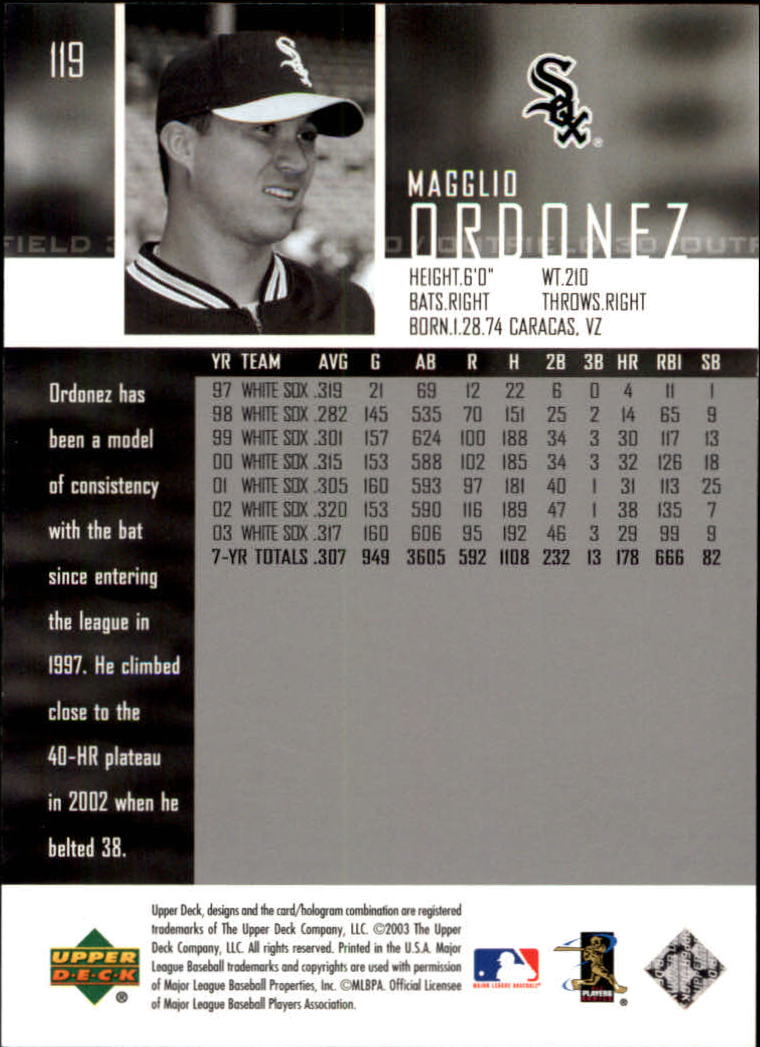 2004 Upper Deck Glossy #119 Magglio Ordonez back image