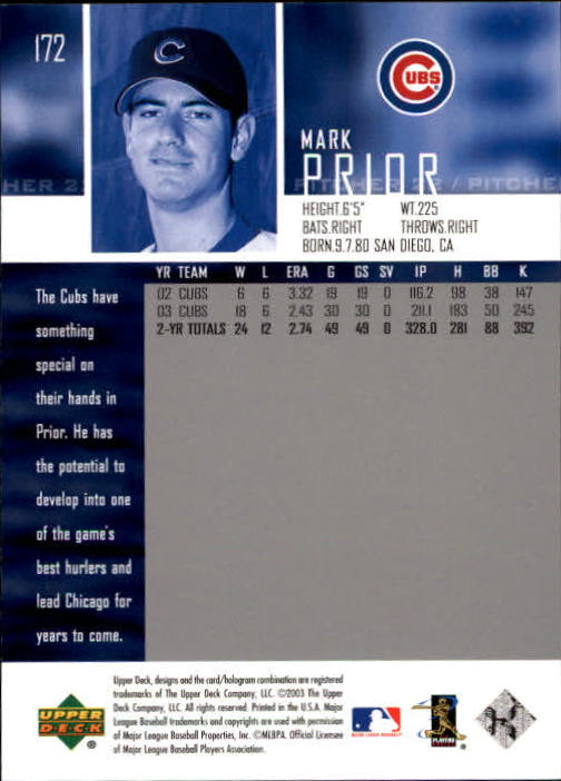 2004 Upper Deck Glossy #172 Mark Prior back image
